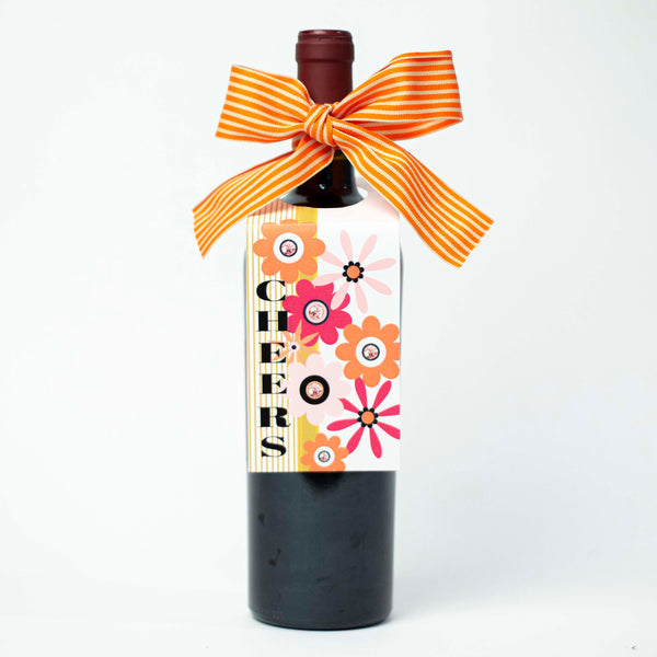 Flower Cheers Wine Tag