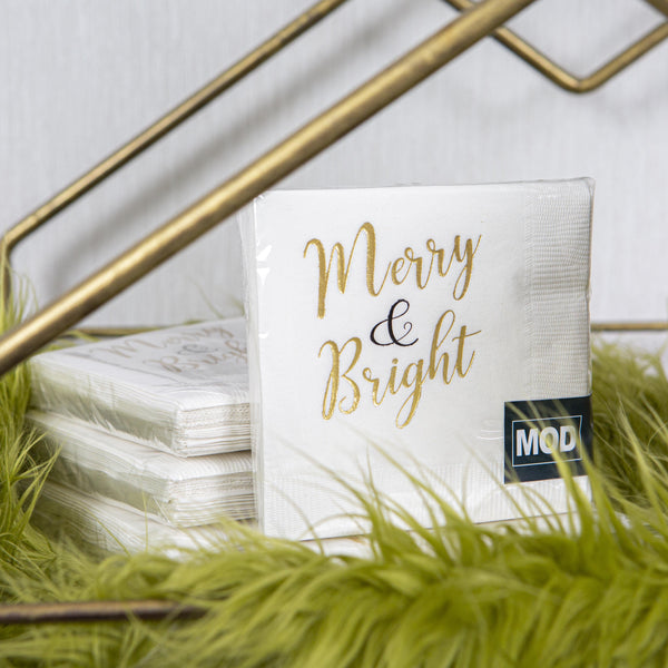 Merry & Bright Beverage Napkin - ModLoungePaperCompany