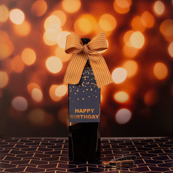birthday wine tag with bow