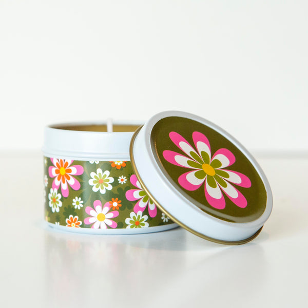 retro flower travel candle