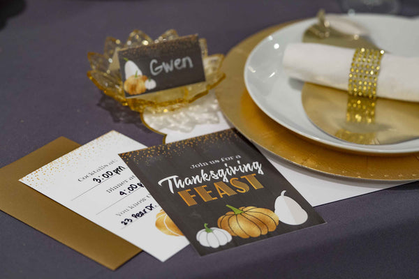 Glitter Pumpkin Thanksgiving Invitation