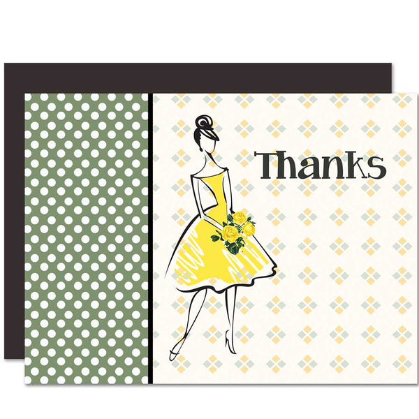 Vintage Fashion Thank You Card - ModLoungePaperCompany
