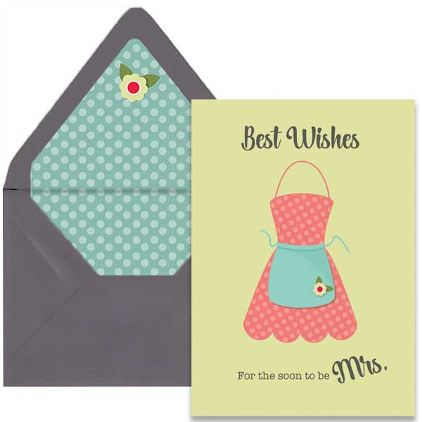 Retro Apron Bridal Shower Card A7 - ModLoungePaperCompany