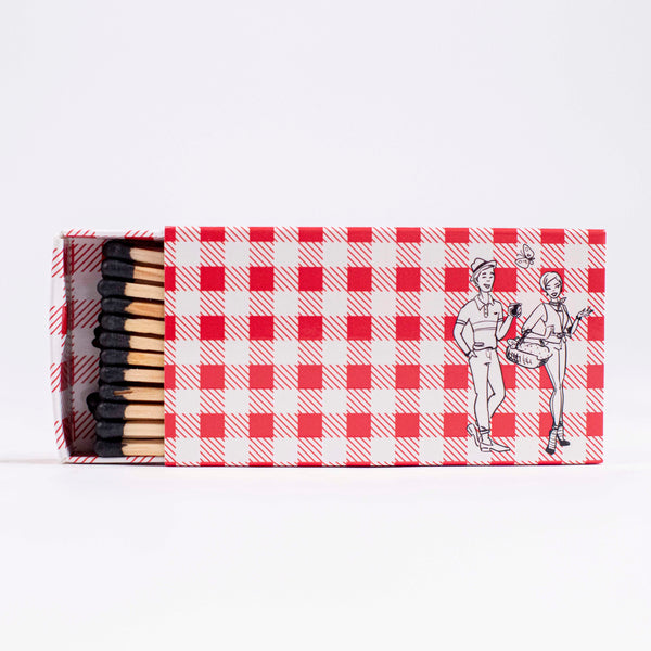 Gingham Barbecue Boxed Matches - ModLoungePaperCompany