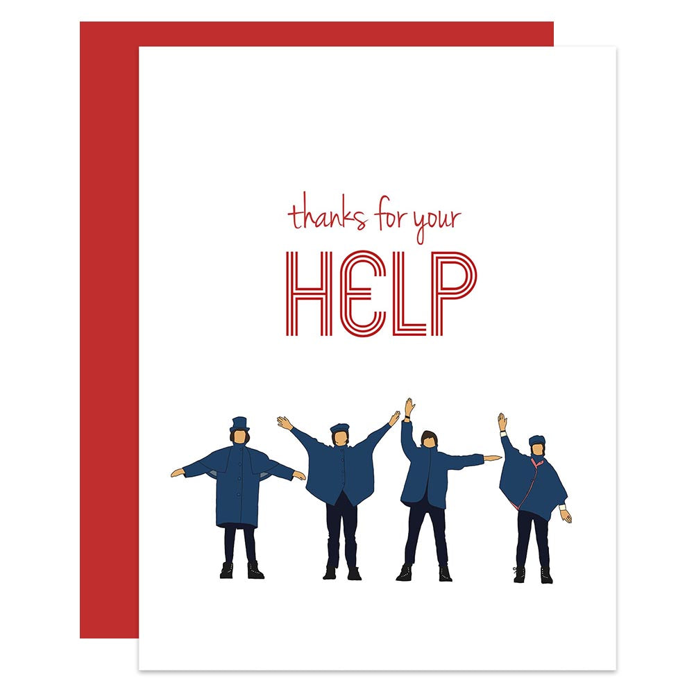 Beatles Thanks for your Help Greeting Card - ModLoungePaperCompany