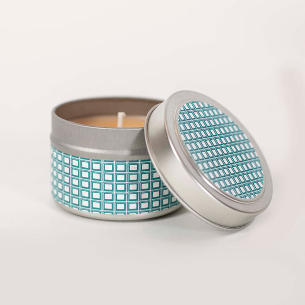 Teal Squares Travel Candle - ModLoungePaperCompany