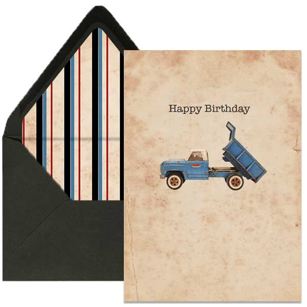 dump truck birthday card