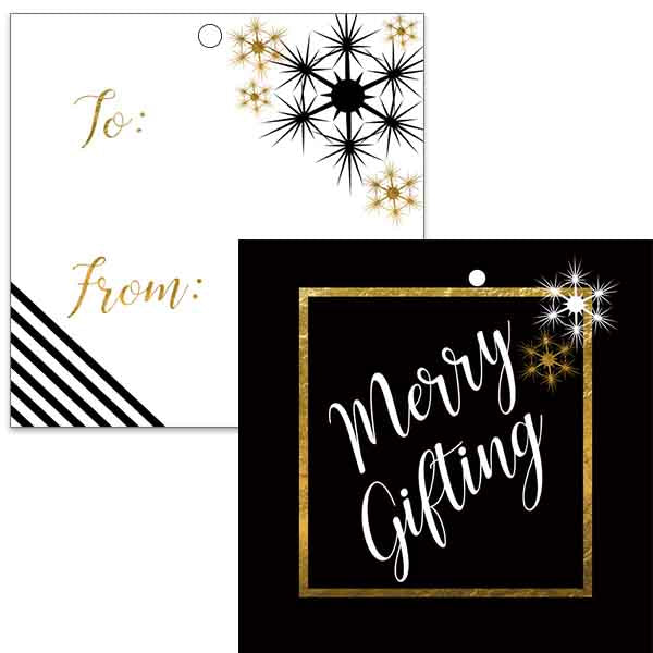 black and gold holiday gift tag