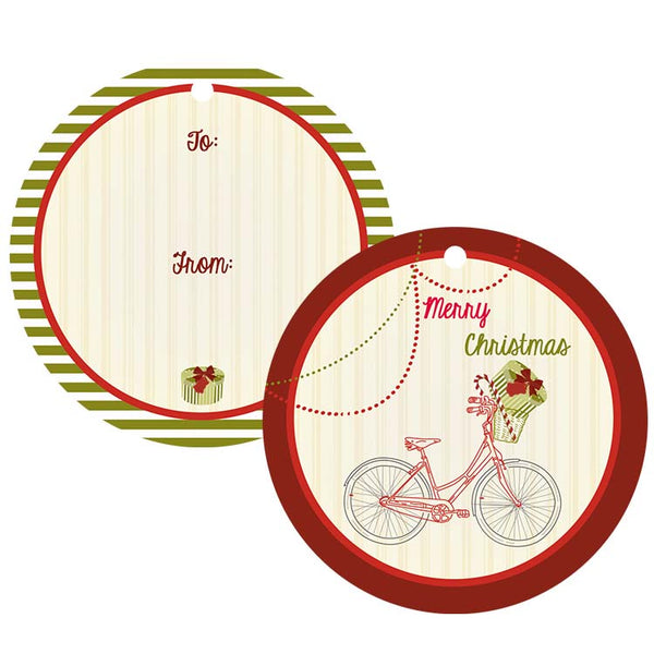 Vintage Holiday Bike Gift Tag