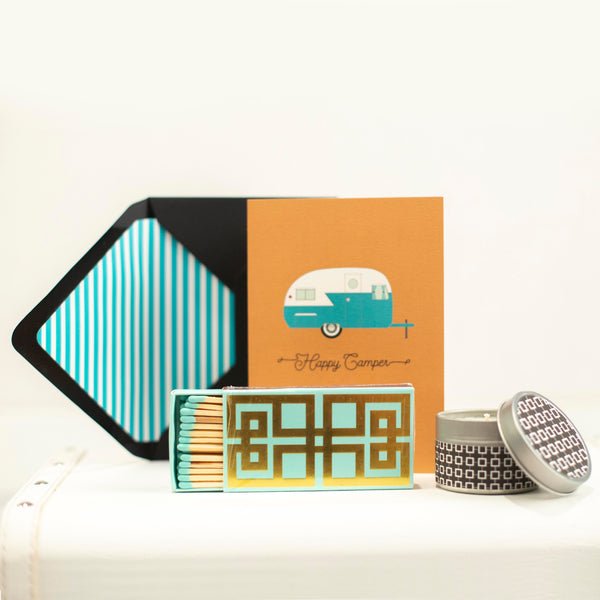 Aqua and Gold Greek Key Matchbox - ModLoungePaperCompany
