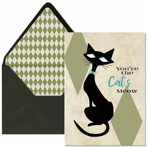Cat's Meow Greeting Card - ModLoungePaperCompany