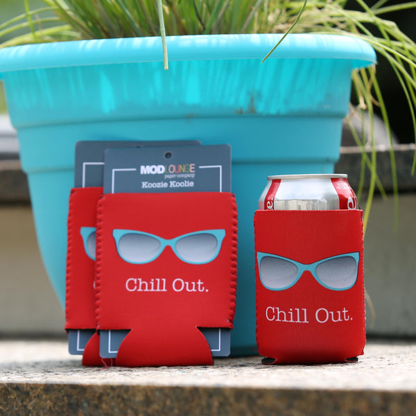 Chill Out Red Koozie - ModLoungePaperCompany