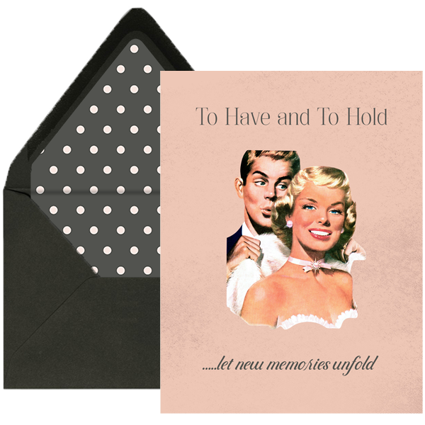 Vintage Couple To Have and to Hold Wedding Card
