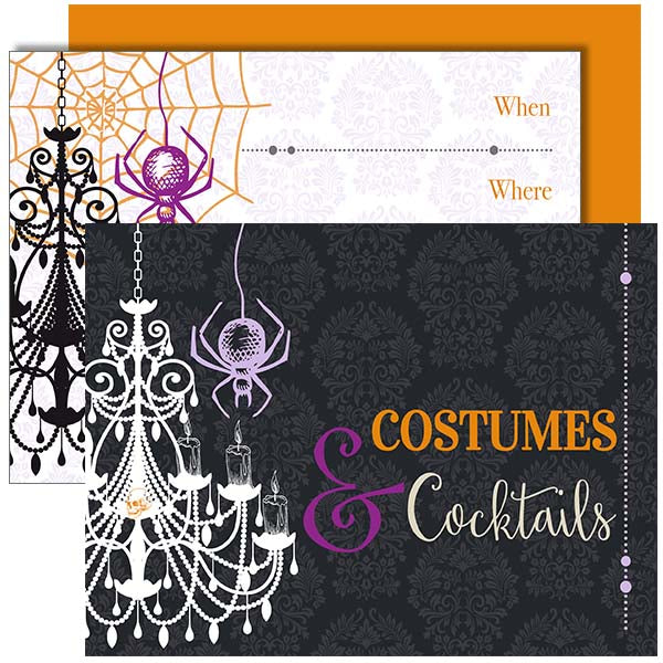 Costumes & Cocktails Vintage Halloween Invitation - ModLoungePaperCompany