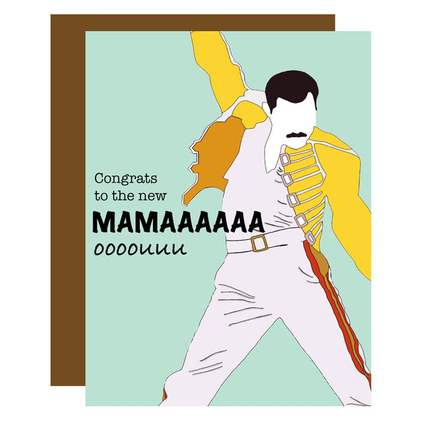 Freddie Mercury New Mama Greeting Card - ModLoungePaperCompany