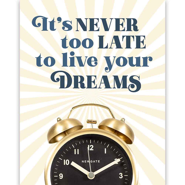 Never Too Late Clock Pink Art Print - ModLoungePaperCompany
