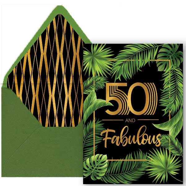50 and Fabulous Palm Birthday Card - ModLoungePaperCompany