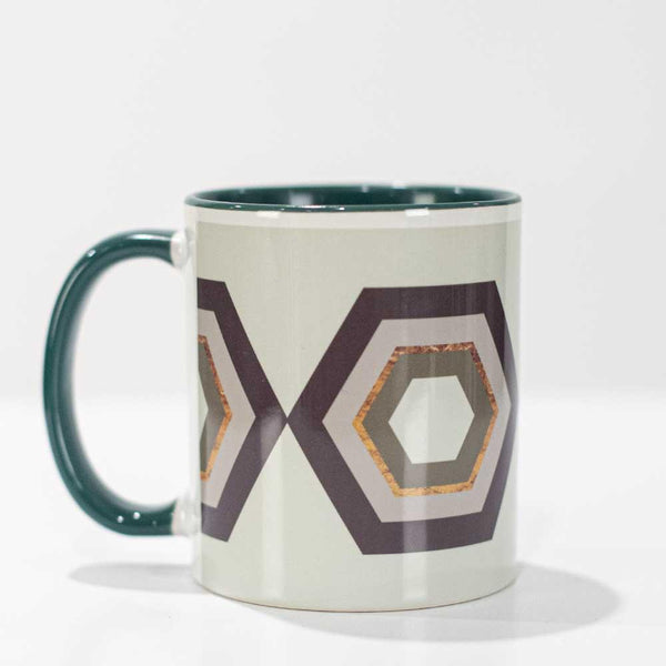 green hexagon coffee mug