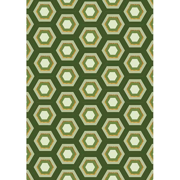 Green Hexagon Gift Wrap - ModLoungePaperCompany