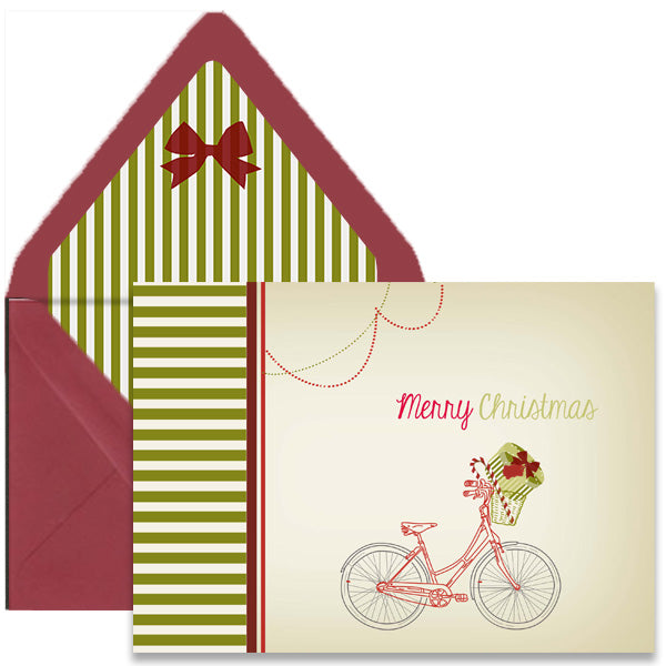vintage holiday bike greeting card