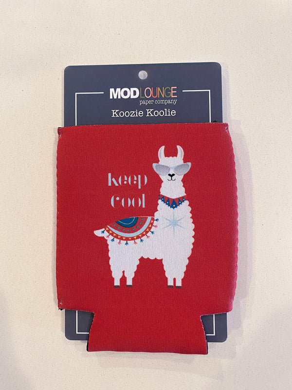 Llama Keep Cool Red Koozie