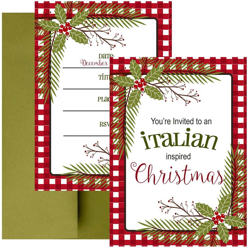 Italian Christmas Invitation - ModLoungePaperCompany
