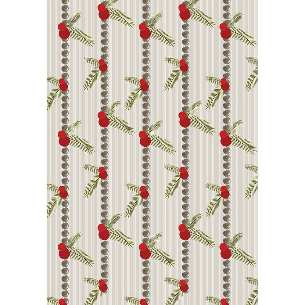 Holly Berry Stripe Gift Wrap - ModLoungePaperCompany