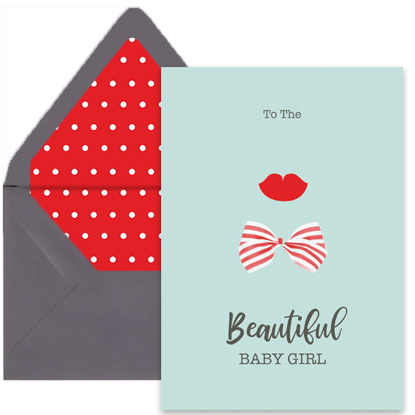 Lips and Bow Newborn Greeting Card A7 - ModLoungePaperCompany