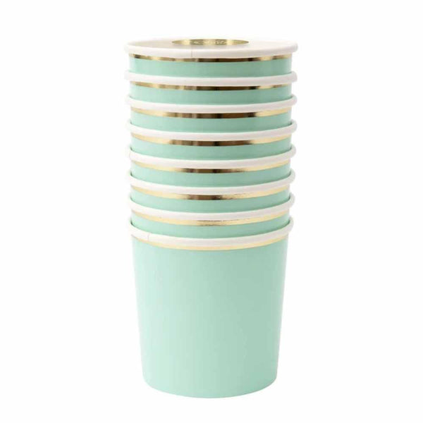 aqua cup with gold trim