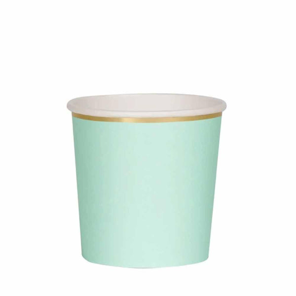 mint paper cup with gold trim