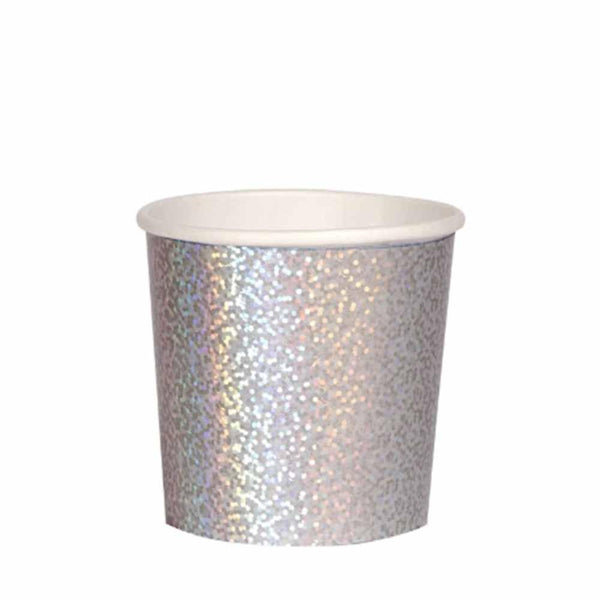 silver sparkle paper cup