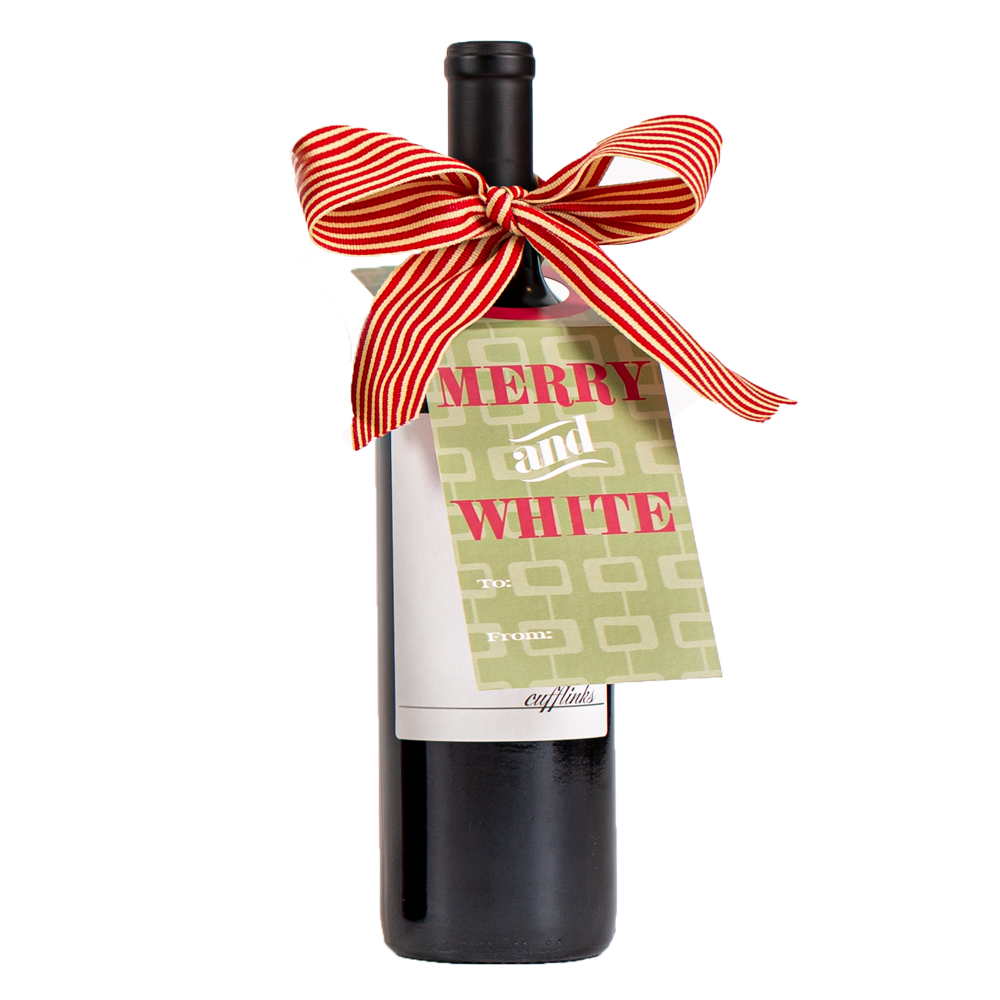 Merry & White Wine Tag - ModLoungePaperCompany