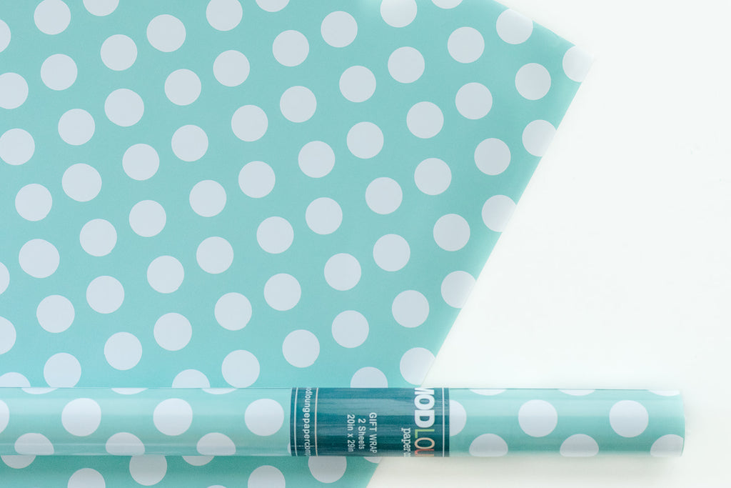 aqua blue polka dot gift wrap