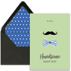 Mustache and Bow Newborn Greeting Card - ModLoungePaperCompany