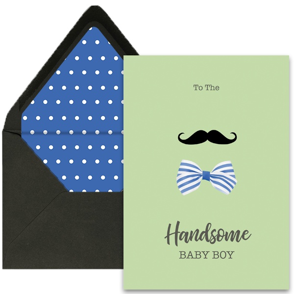 Mustache and Bow Newborn Greeting Card A7 - ModLoungePaperCompany