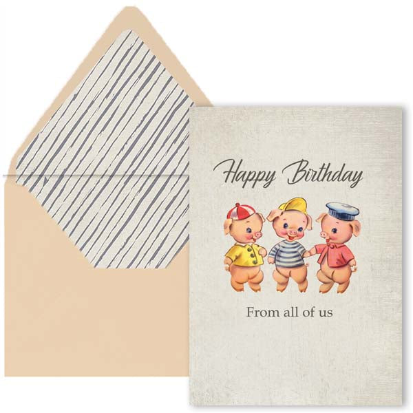 Three Little Pigs Birthday Card - ModLoungePaperCompany