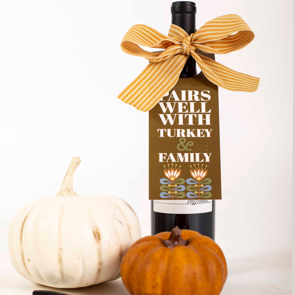 Pairs Well With Turkey Wine Tag - ModLoungePaperCompany