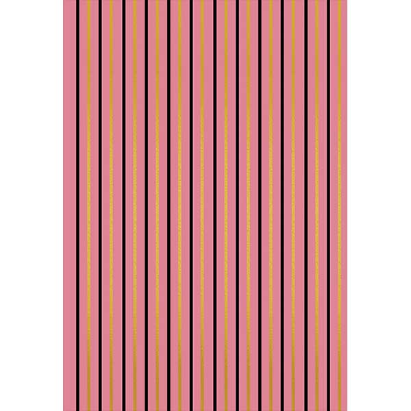 Pink Gift Wrap with Black and Gold Stripe - ModLoungePaperCompany
