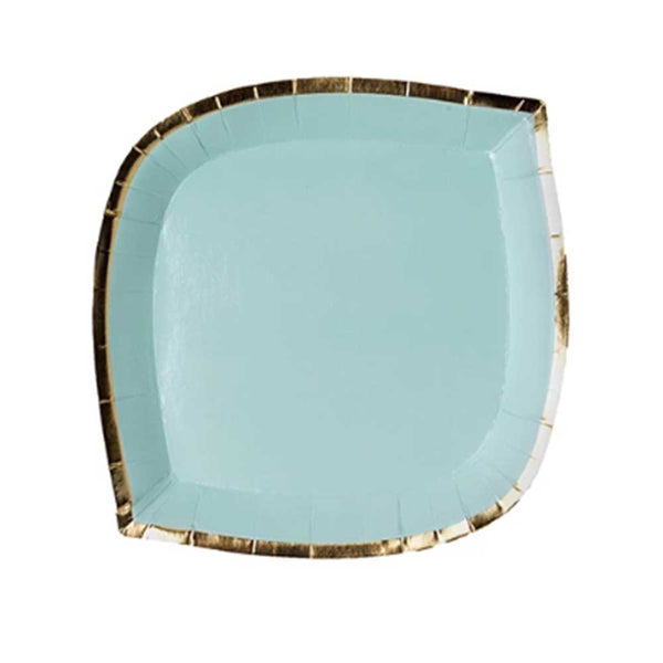 aqua die cut plate with gold rim