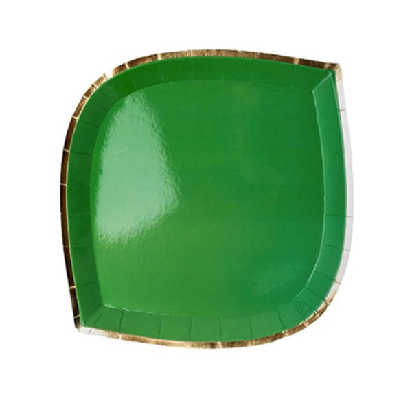 green die cut paper plate with gold trim
