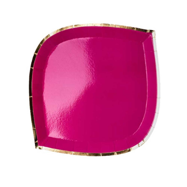 hot pink die cut paper plate with gold trim