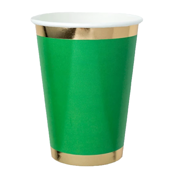 green paper cup with gold trim
