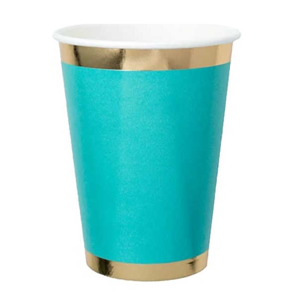 teal paper cup with gold trim