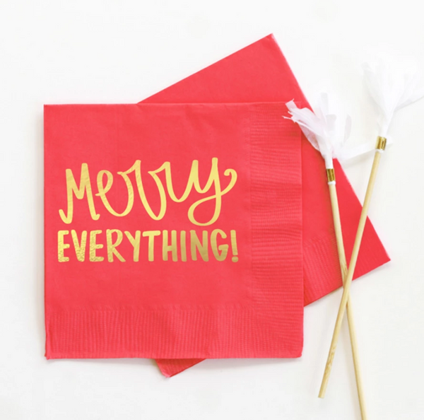 Merry Everything Beverage Napkin Red - ModLoungePaperCompany