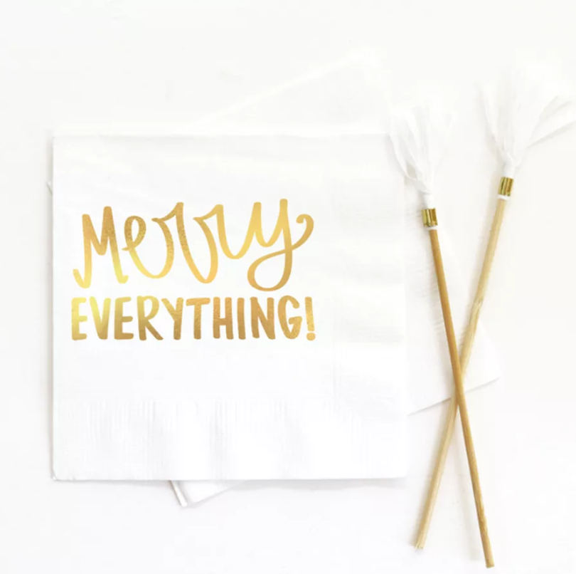 Merry Everything Beverage Napkin White - ModLoungePaperCompany