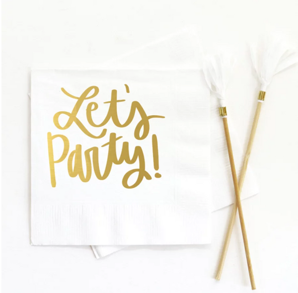 Lets Party Beverage Napkin White - ModLoungePaperCompany