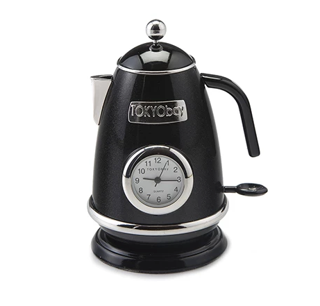 Tea Kettle Clock Black - ModLoungePaperCompany