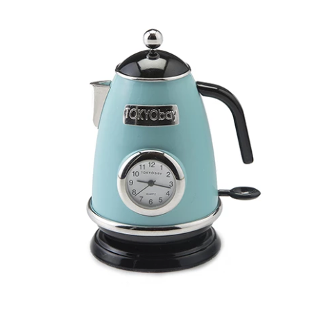 Tea Kettle Clock Light Blue - ModLoungePaperCompany