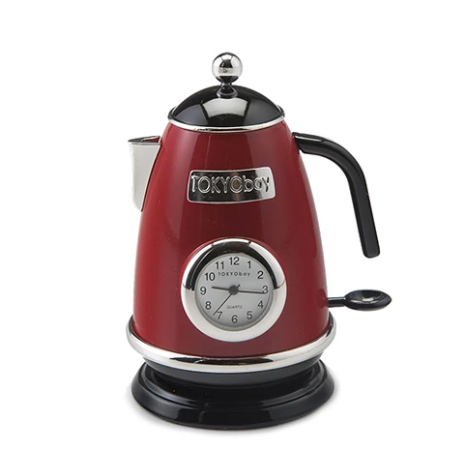 Tea Kettle Clock Red - ModLoungePaperCompany