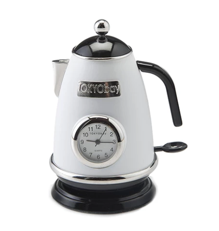 Tea Kettle Clock White - ModLoungePaperCompany